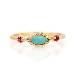 18kgp Opal & Pink garnet Ring